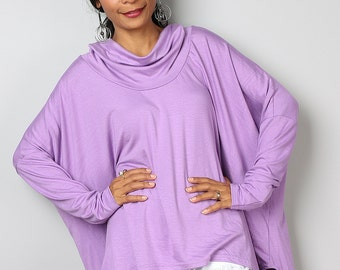 Purple Top / Cowl Neck Tunic / Ladies Tunic / Oversized Tunic : Urban Chic Collection No.27
