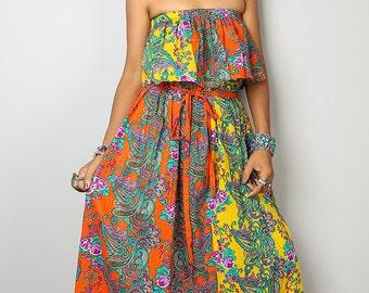 Maxi Dress - Boho Yellow Orange Dress - Bohemian Ruffle Halter Dress: Sunny Dreams Collection No.4