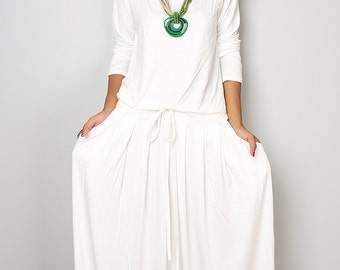 PLUS SIZE  Dress / Off-White Maxi Dress -  Long Sleeve dress : Autumn Thrills Collection No.1  (Best Seller)