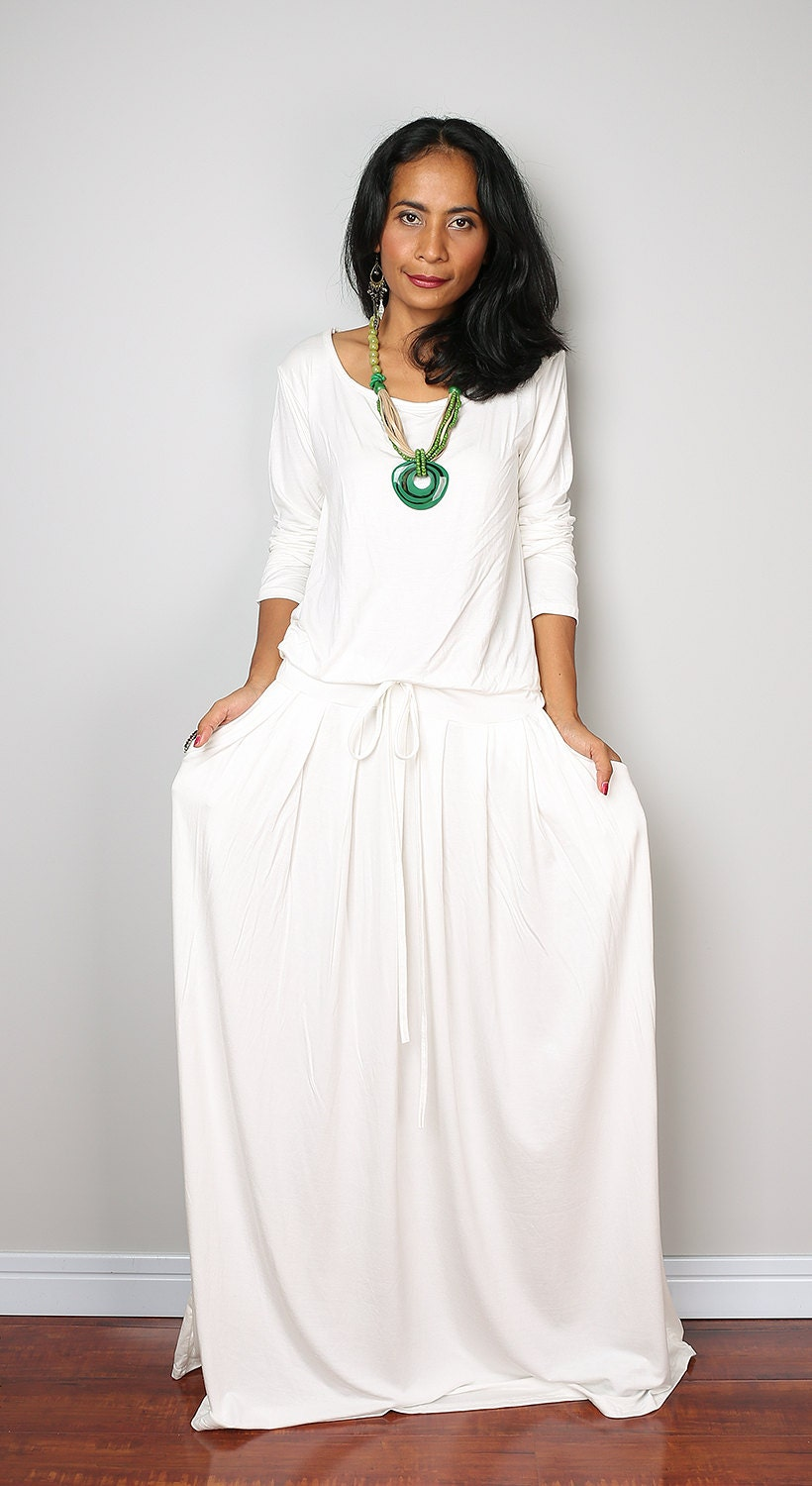 PLUS SIZE Dress / Off-White Maxi Dress Long Sleeve dress :