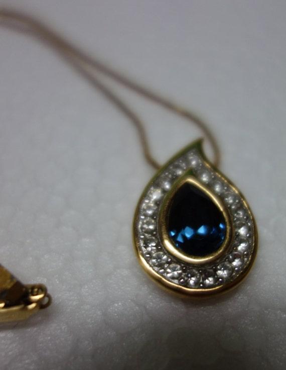 GIVENCHY 1981 Tear-drop Pendant Necklace w/faux Sapphire