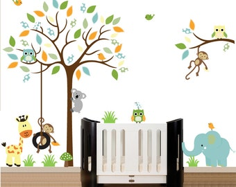 Wall Decals Nursery, Tree Wall Nursery, Nursery Wall Decal, Tree Decal, Chevron Owl Tree Decal