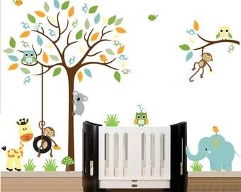 Wall Decals Nursery, Tree Wall Nursery, Nursery Wall Decal, Tree Decal, Chevron Owl Tree Decal