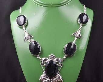 Blue Goldstone silver plated necklace  (#J705). Free shipping in USA