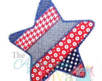 4th of July Summer Patchwork Star Digital Embroidery Design Machine Applique