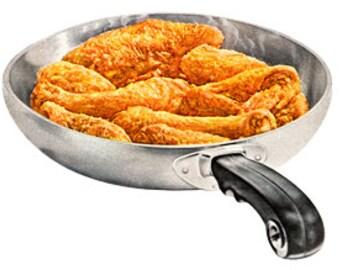 Pan Fried Chicken Kitchen Food Cook Eat Dinner - Digital Image - Vintage Art Illustration - Instant Download