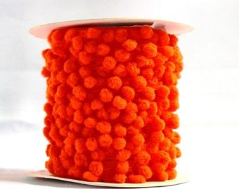 Orange pom pom trim - 5m Orange pom poms, UK supplies shop, haberdashery, interior trims, orange trimmings, UK sewing supplies, haberdashery