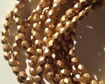 Czech glass matte bronze metallic 4mm firepolished beads