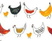 Metro Market - White Chickens Chicks by Margaret Berg from Robert Kaufman
