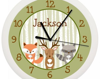 Woodland Forest Animal Nursery Wall Clock Personalized 10 Inch