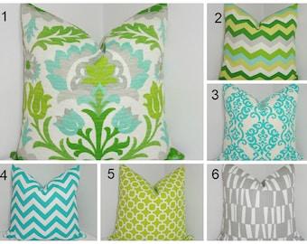 OUTDOOR Pillow Covers Waverly Santa Maria Mint Julep Green Aqua Blue Damask Chevron  Deck Patio Pillow Covers