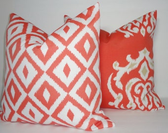 OUTDOOR Coral White Tan Ikat & Geometric Pillow Covers Decorative Deck Patio Pillow Covers 18x18