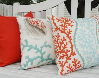 OUTDOOR Nautical Pillow Trio Turquoise Coral Shell Orange Pillow Cushion Covers Coral Porch Decorative Pillows 18x18