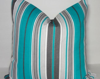 OUTDOOR Pillow Cover Teal Grey Stripe  Deck Patio Pillow Cover Stripe Pillow Covers Choose Size
