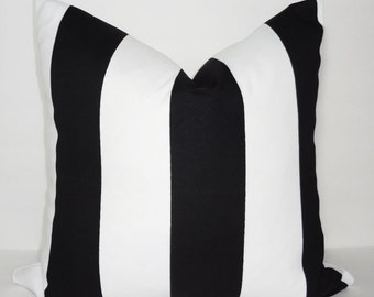 OUTDOOR Black & White Large Stripe Pillow Cover Deck Patio Pillow Cover Choose Size
