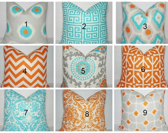 Turquoise Blue Grey Orange Suzani Pillow Cover Coordinating Decorative Throw Pillows 16x16