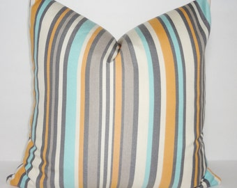 OUTDOOR Stripe Pillow Cover Blue Peach Grey Ivory Stripe Pillow Cover Deck Patio 18x18