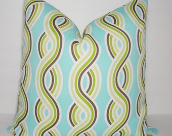 OUTDOOR Deck Patio Pillow Cover Blue Green Twisted Rope Design Outdoor Pillow Cover 18x18