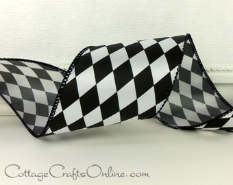 """Wired Ribbon, 2 1/2"""" wide, Black and White Harlequin Diamond - THREE YARDS - Offray """"Court Jester"""" Craft Wire Edged Christmas Ribbon"""