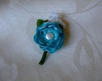 Light Blue Satin Button Flower Boutonniere