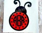 Custom Monogrammed Ladybug Decal