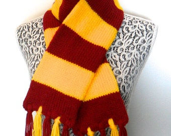 Harry Potter Scarf - First Two Movies Design - Double Thick and Cozy Fringed Scarf