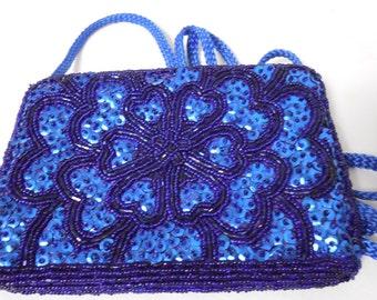LaRegale LTD 1980s Indigo Sequins & Blue Beaded Evening Bag, Indigo Blue, Vintage 80s Beaded Evening Bag, Vintage Accessories... VTG PURSES