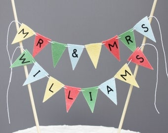 Personalized Last Name Mr and Mrs Wedding Cake Banner Sign, Garden Wedding Cake Topper in Green, Coral, Yellow and Blue, Custom Colors