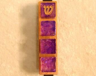 Stained Glass Tile Mezuzzah - Iridescent Purple