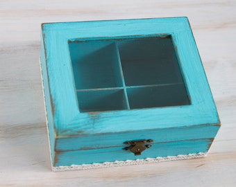 Light BlueTea Wooden Box, Tea Box, Tea Box Container, Shabby Chic tea box / storage box/, Jewelry box, Jewelry Organizer