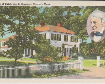 Concord, Massachusetts, Ralph Waldo Emerson, Home - Linen Postcard - Unused (G1)