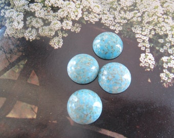 Vintage Glass Turquoise Matrix 18mm Cabs 4Pcs.