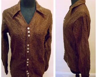 Vintage 1980s Brown Long Sleeve Eyelet Shirt- S