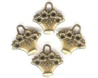 Antique Gold Flower Basket Charm-4 pieces