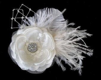 ALENA - Bridal Ivory Flower Hair Clip, Wedding Fascinator, Brooch Pin with Rhinestone Veil Ostrich Feathers