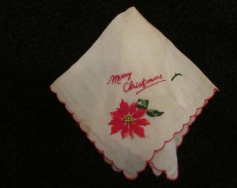 Vintage Ladies Merry Christmas  Poinsettia Hankie Vintage Women's Handkerchief , Vintage Handkerchief  with Red Scalloped Edges