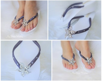 Navy blue Bridal Wedge Starfish Flip Flops.- Original Australian Starfish Crystal and SWAROVSKI Elements StarFish Collection Navy Blue 01