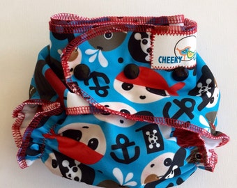 "One Size Cheeky Cloth Swim Diaper ""Pirates"""