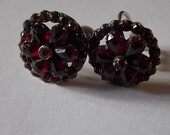 Edwardian Antique Vintage Bohemian Garnets Earrings SILVER