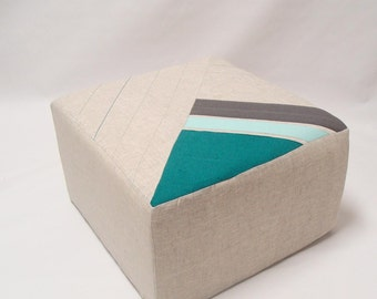 Ottoman/Eclectic Pouf/Natural/Teal/Grey/Color Block Pouf/Floor Pouf/Sturdy Seating/Unique Side table/ Foot Stool /Zigzag Studio Design