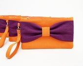 Big sale -Bridesmaiclutches Purple orange, bow wristlet  clutch,bridesmaid gift ,wedding gift ,make up bag ,piece 9.90 USD