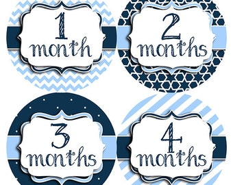 FREE GIFT, Baby Month Stickers Boy, Navy, Light Blue, Monthly Baby Stickers, Baby Belly Stickers, Baby Stickers, Chevron, Navy Blue