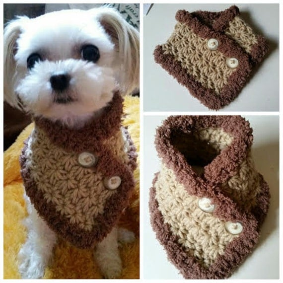 Free Crochet Pattern For Dog Bandana : Crocheted Small Dog Scarf Puppy scarf fits most S or M dogs