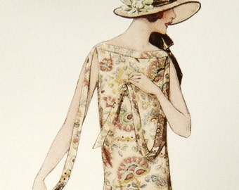 1920s spring-summer dress sewing pattern and a smooth upper part with a timeless open collar.