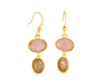 Gold and Gemstone Dangling Earrings, gemstone earrings,  gemstone dangle earrings, gold dangle earrings, gold earrings, gold drop earrings