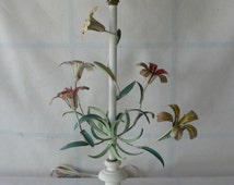 vintage floral lamp, white paint, shabby chic, enameled flowers,  from Diz has Neat Stuff