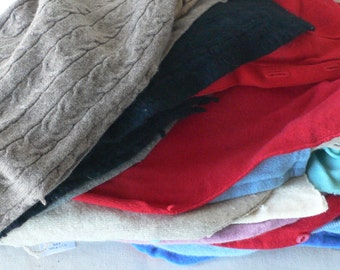 cashmere destash,cardigan fronts, recycled,quilt material, assorted colors, from Diz Has Neat Stuff