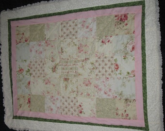 Baby Girls Rose Quilt Crib Blanket Baby Comforter with Lace lap quilt