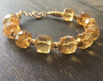 Amber Bracelet - Amber Jewelry - Yellow Gemstone Jewellery - Gold - Beaded - Fashion