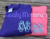 Youth Girls or Preteen Preppy Glitter Small Monogrammed T-Shirt